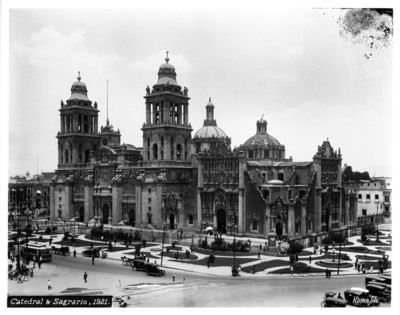 """""""Catedral de México y Sagrario"""", toma desde el Palacio Nacional"""
