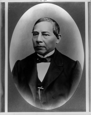 Reproducción de un retrato de Benito Juárez por Valleto 1868