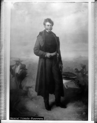 Vicente Guerrero, reproducción de una pintura al óleo, ubicada en el pasillo de Palacio Nacional