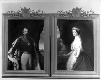 Pintura al óleo de Napoleon III y la emperatriz Eugenia en el Salón Histórico del Museo