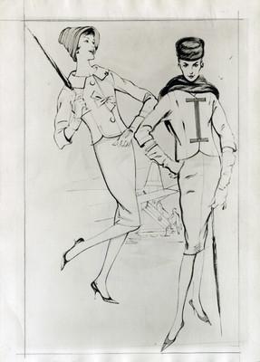 Mujeres posan con vestidos y accesorios, ilustración