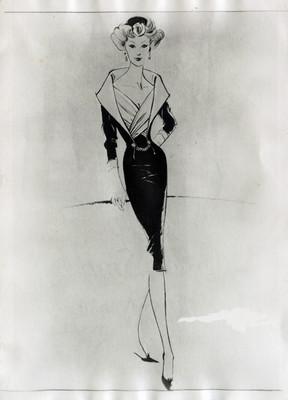 Mujer modela vestido, ilustración de revista