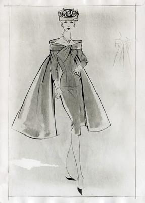 Mujer posa con vestido y sombrero, ilustración de revista