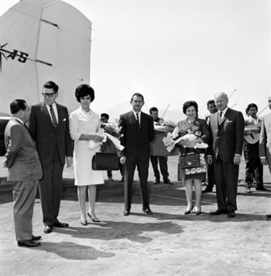 Empresarios en pista de aterrizaje junto a un avión, retrato de grupo
