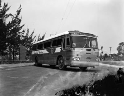 """Autobús de la línea """"Cristóbal Colón"""" en estacionamniento"""