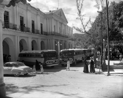 Autobuses frente de un parque