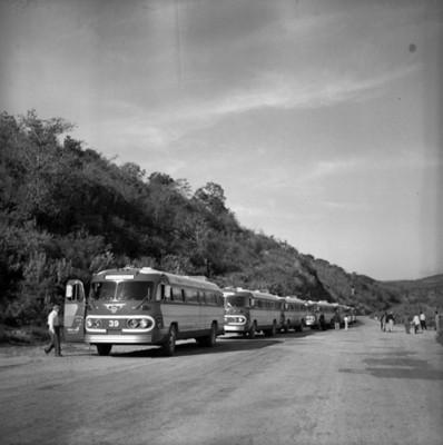 Autobuses estacionados en una carretera durante viaje