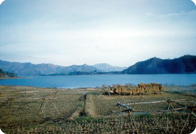 Vista de lago y campo de cultivo