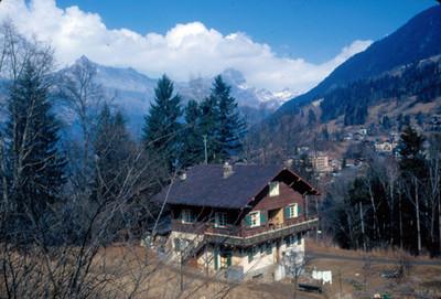 Villa alpina en Mont-Blanc, panorámica