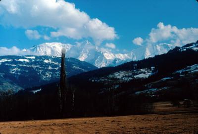 Valle y ladera en Chamonix, Mont-Blanc al fondo