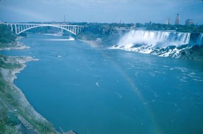 Rio, Cataratas del Niagara y puente, paisaje con arcoiris