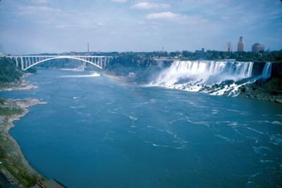 Cataratas del Niagara, puente y rio, paisaje con arcoiris