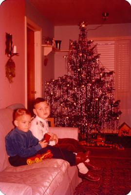Niños en la sala de una casa, junto a un árbol de navidad