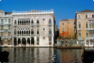 Fachadas de edificios en el Gran Canal de Venecia