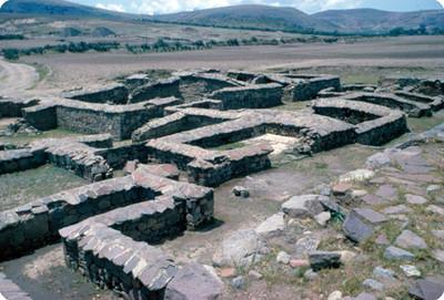 Calixtlahuaca, basamentos arqueologicos, grupo llamado el Calmecac (escuela), estructura 17
