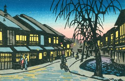 Tarjeta postal en dibujo, calle de un lugar del Japon