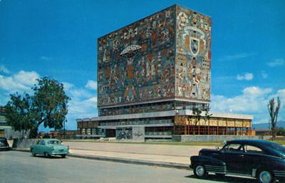 Biblioteca Central con Mosaico mural de Juan O'Gorman, Ciudad Universitaria, Mexico, D.F.