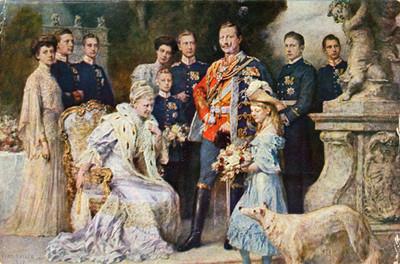 Familia Real, retrato de grupo, tarjeta postal
