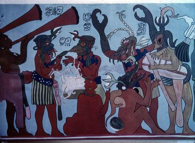 Pintura mural músicos y danzantes, lamina