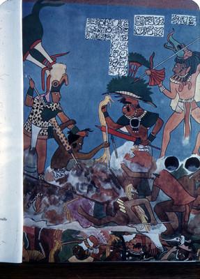 Detalle del mural Cuarto No. Guerreros combatiendo, lamina