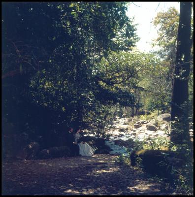 Escena de mujer y hombre sentados al pie de río