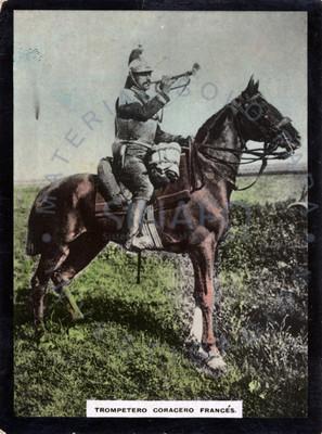 """""""Trompetero coracero francés"""" monta a caballo, retrato de tres cuartos"""