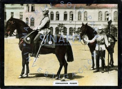 """Coraceros rusos"" a caballo en una calle, retrato"