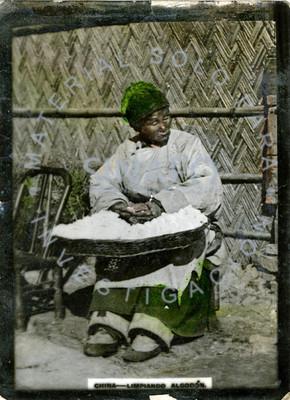 Mujer sentada limpia algodón de una canasta, retrato