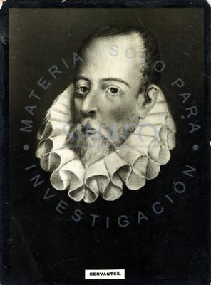 """Miguel de """"Cervantes"""", retrato de tres cuartos"""
