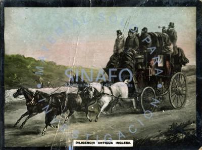 "Hombres conducen ""diligencia antigua inglesa"""