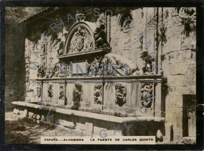 """""""Fuente de Carlos Quinto [en la] Alhambra"""", vista lateral"""
