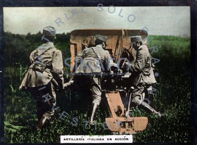 Artillería italiana en acción