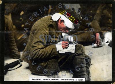 Soldado ingles herido escribiendo a casa