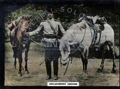 """""""Exploradores cosacos"""" soldado con caballos"""