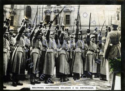 Soldados austriacos saludan a su emperador