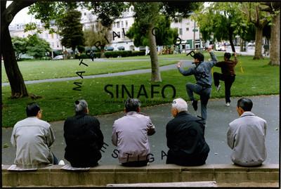 Hombres de espaldas sentados en una banca, observan a jóvenes que practican artes marciales