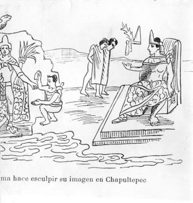 Moctezuma hace esculpir su imagen en Chapultepec, ilustración, reprografía