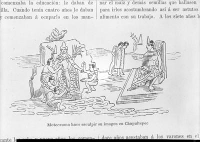 Códice Durán, Moteczuma [sic] hace esculpir su imagen en Chapultepec, reprografía