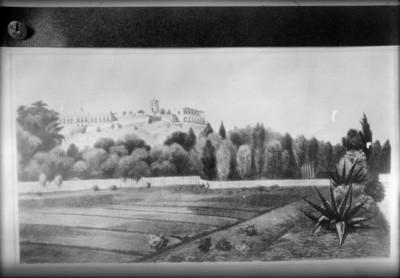 Chapultepec, reprografía de una litografía