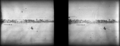 Islas y fuente en el lago de Chapultepec, estereoscópica