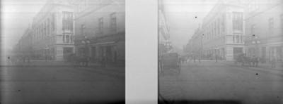 Edificios en la calle de Tacuba, estereoscópica