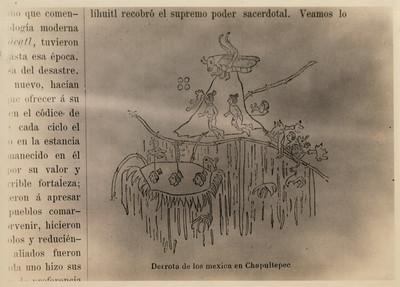 """""""Derrota de los mexica en Chapultepec"""", ilustración, reprografía"""