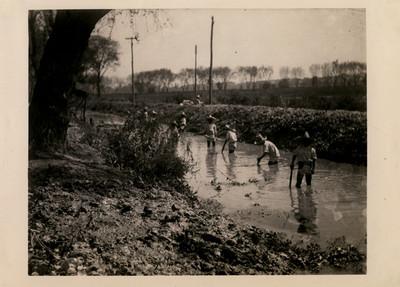 Trabajadores construyen canal de desagüe para el gran lago en Chapultepec