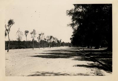 Gran avenida en construcción frente al lago chico del Bosque de Chapultepec