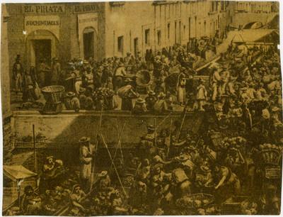 Puente de Roldán, reprografía de una litografía de Casimiro Castro