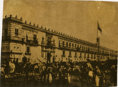 Palacio Nacional, reprografía de una litografía de Casimiro Castro