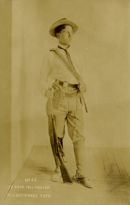 J. Ponce, jefe revolucionario, retrato, tarjeta postal