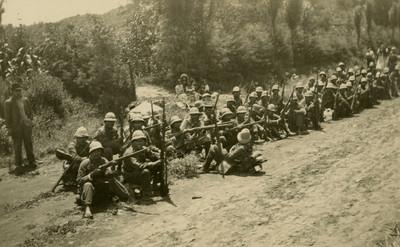 Ejército federal durante descanso, tarjeta postal