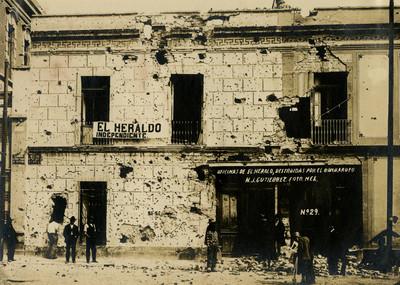 Oficinas de El Heraldo, destruidas por el bombardeo