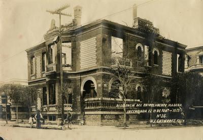 Residencia del ex-presidente Madero incendiada el 11 de Feb.-1913